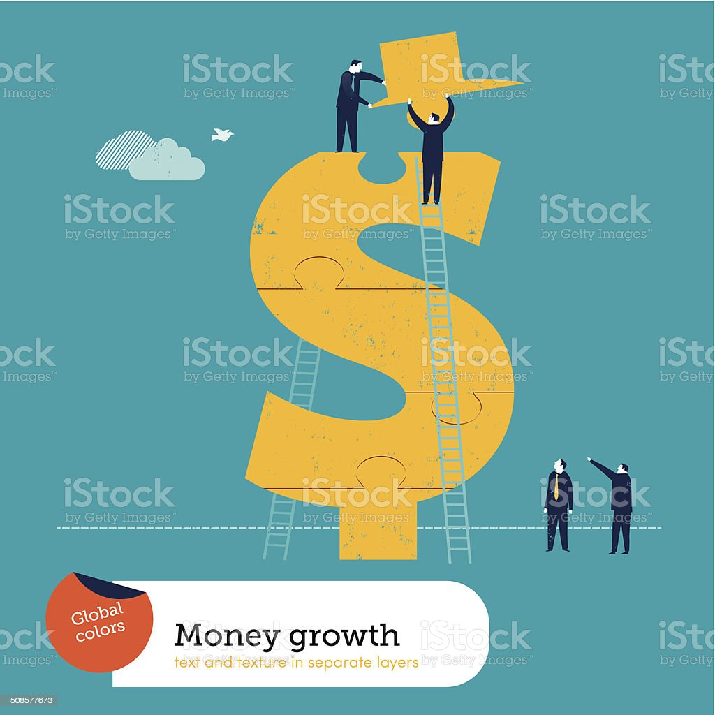 Vector conquering the dollar sign vector art illustration