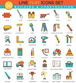 Vector Construction and building tools flat line icon set. Modern