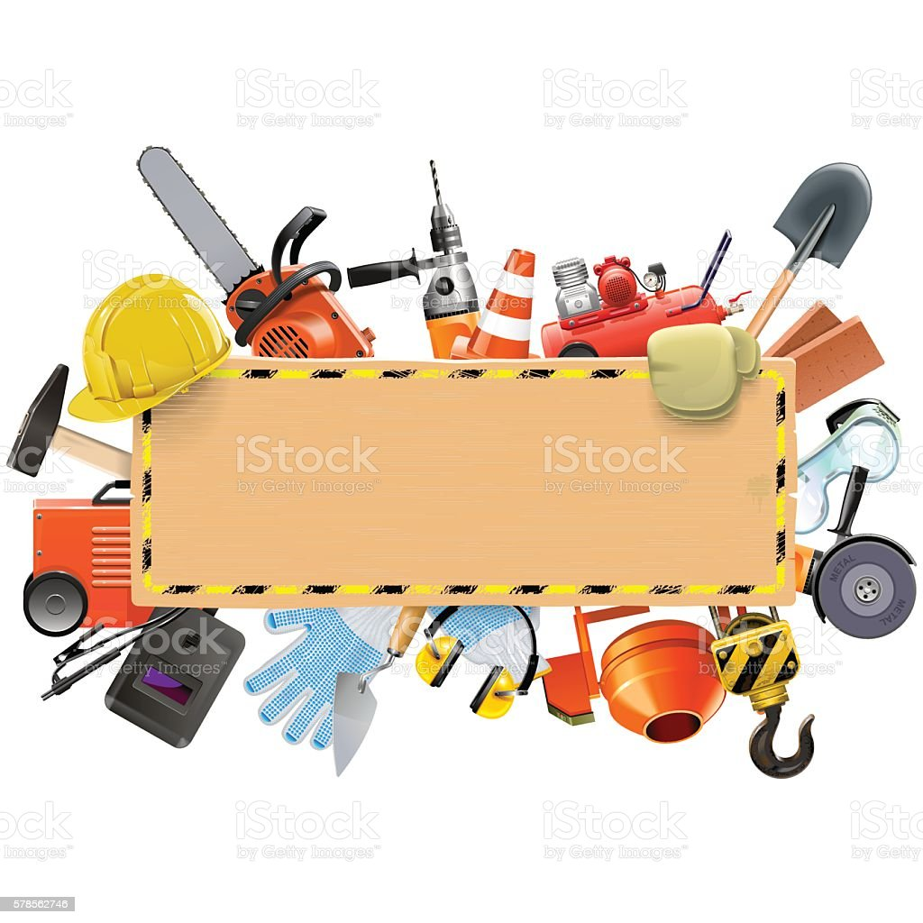 Vector Construction Board with Tools vector art illustration