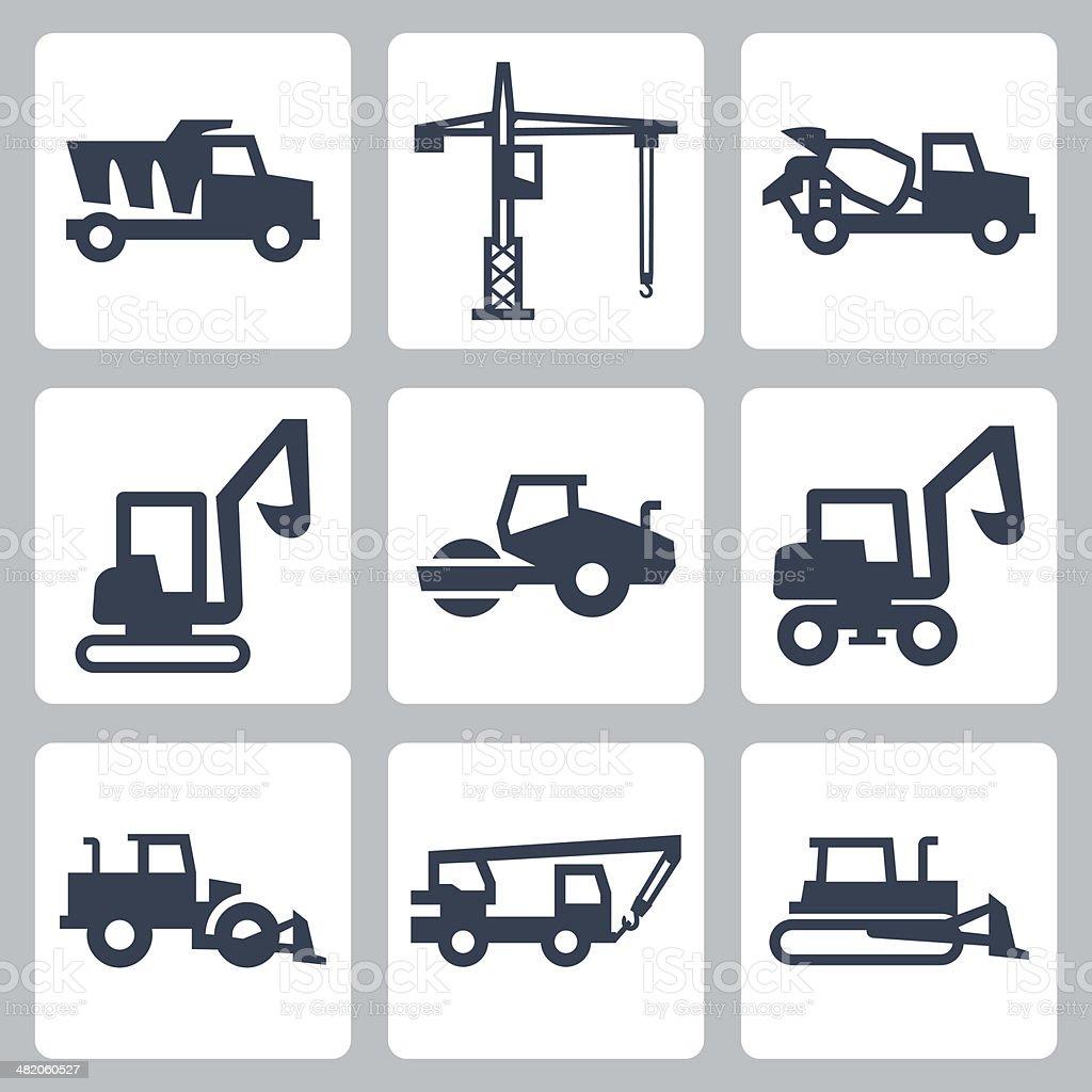 Vector construction equipment icons set vector art illustration