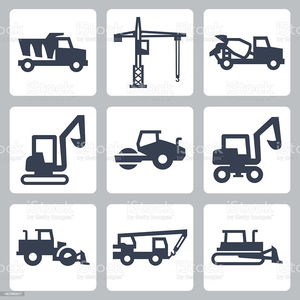 Vector construction equipment icons set vector art illustration
