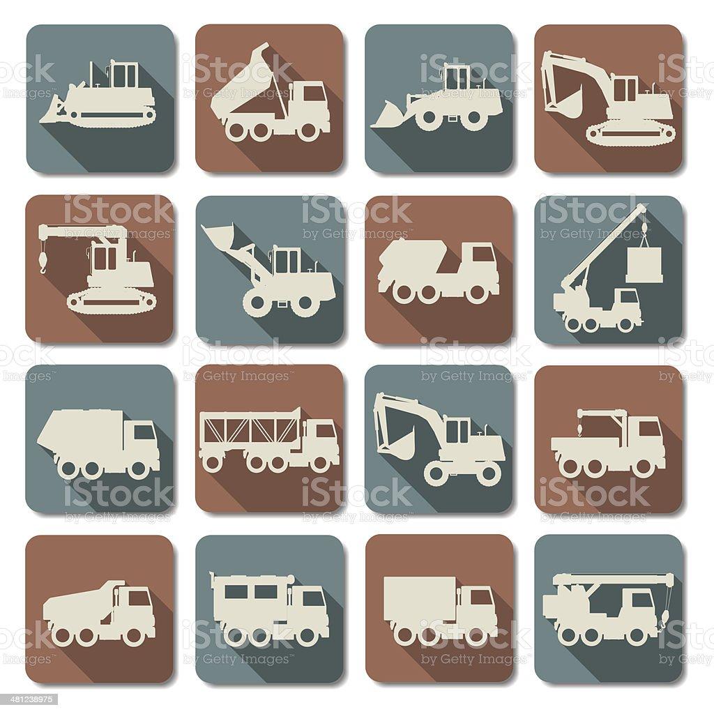 Vector Construction Machines Flat Icons vector art illustration