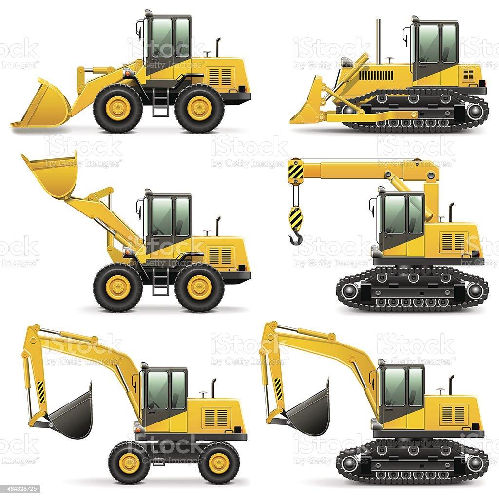 Vector Construction Machines Set 3 vector art illustration