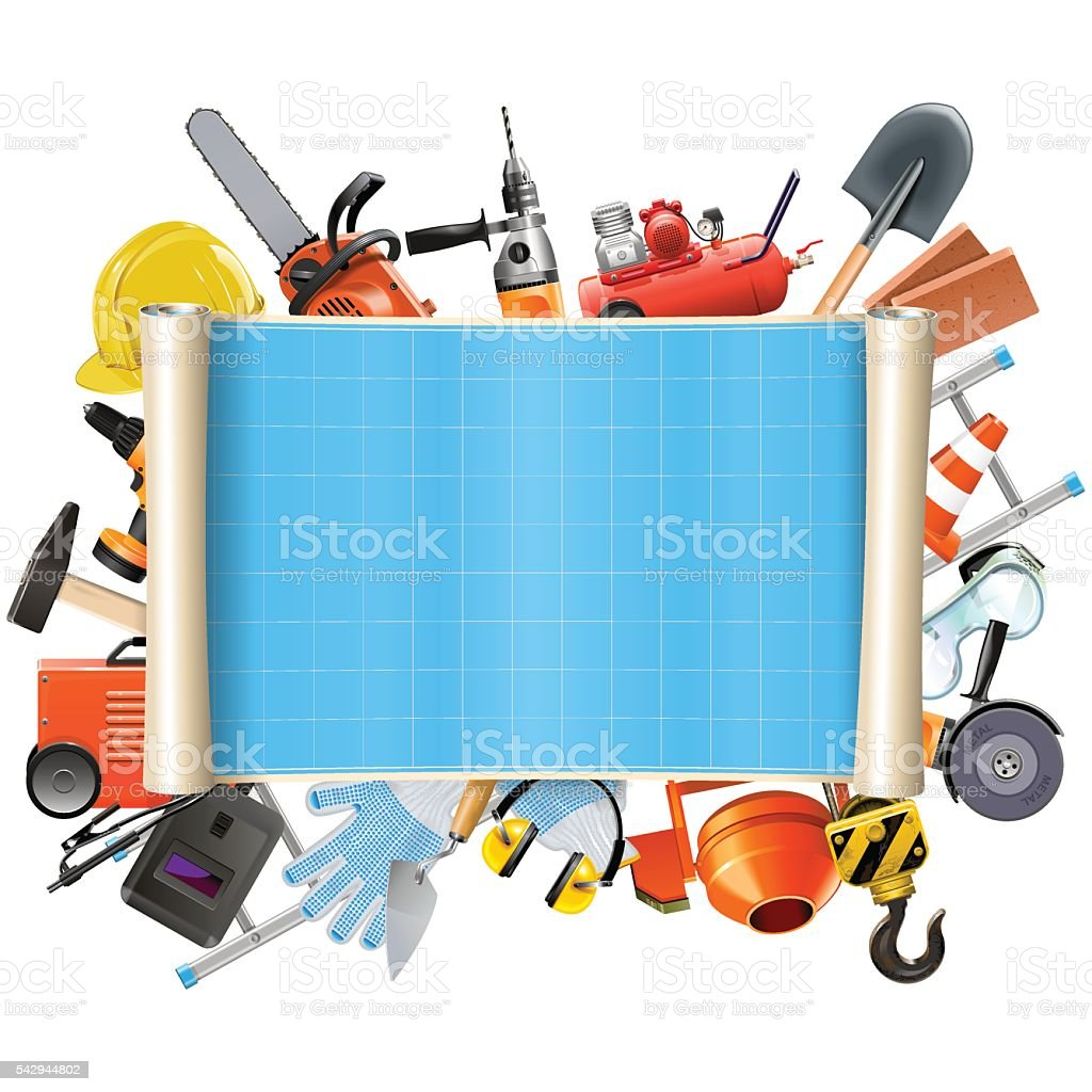 Vector Construction Scroll with Tools vector art illustration