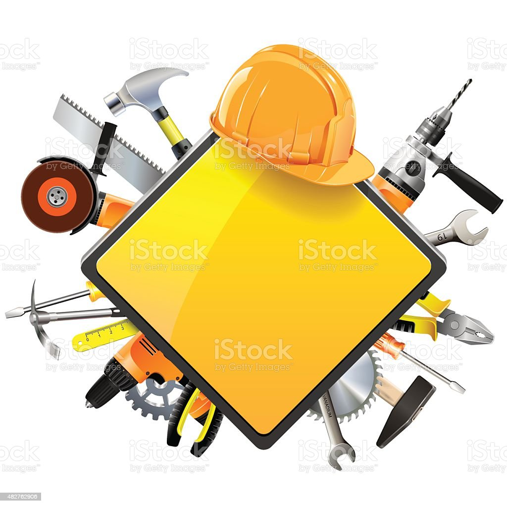 Vector Construction Sign with Tools vector art illustration
