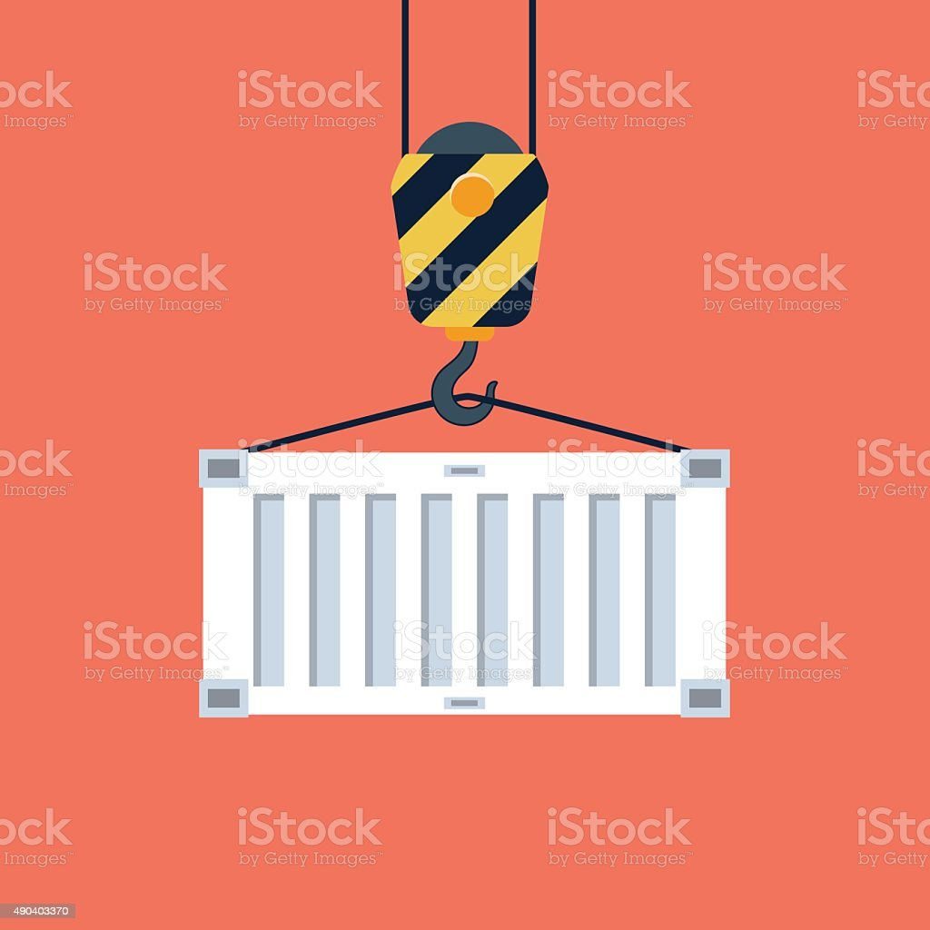 Vector container and crane hook icon vector art illustration