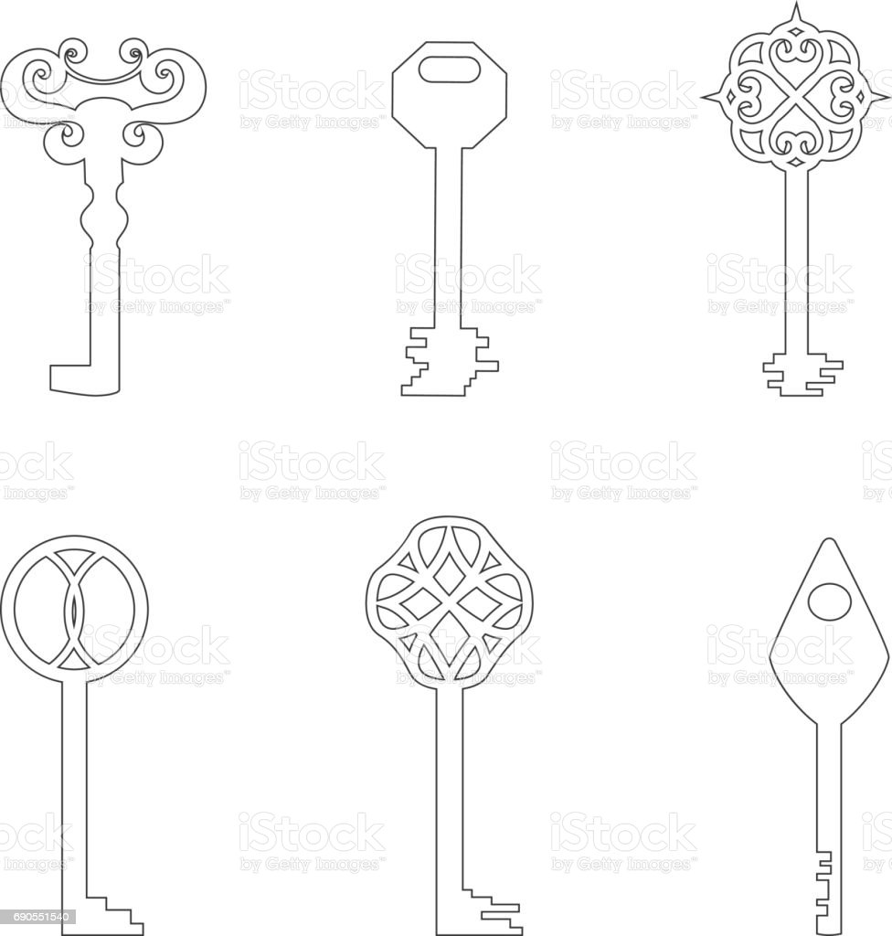 Vector Contour Keys vector art illustration