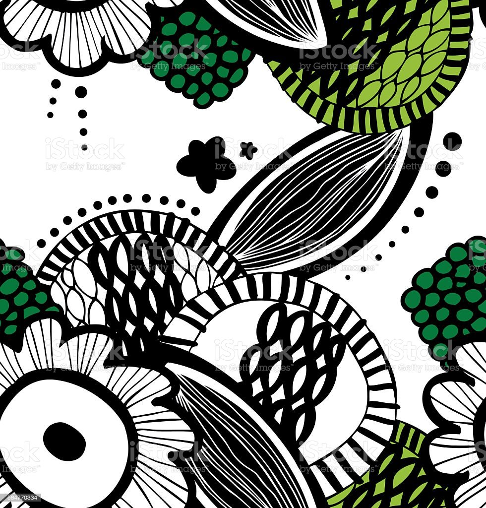 Vector contrast seamless decorative floral pattern vector art illustration