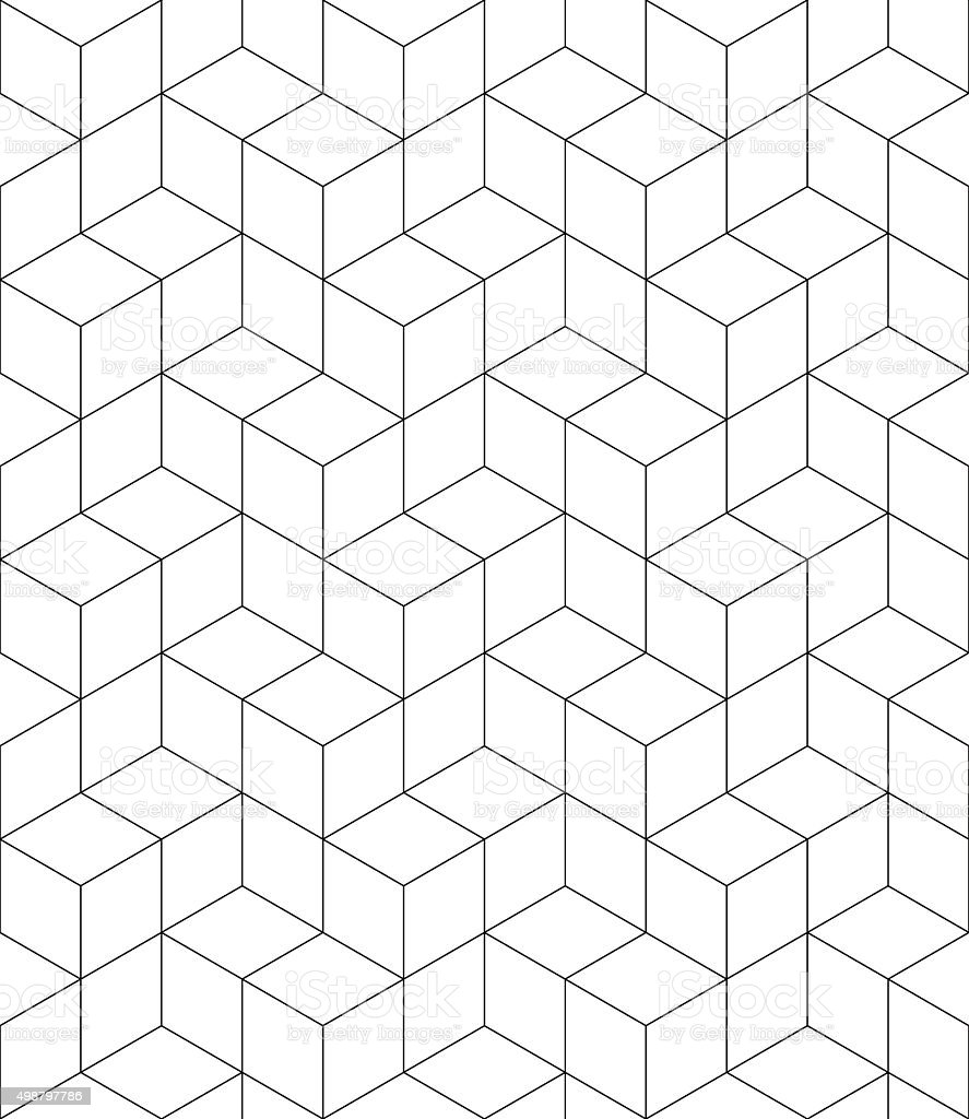 Vector contrast textured endless pattern with cubes, continuous vector art illustration