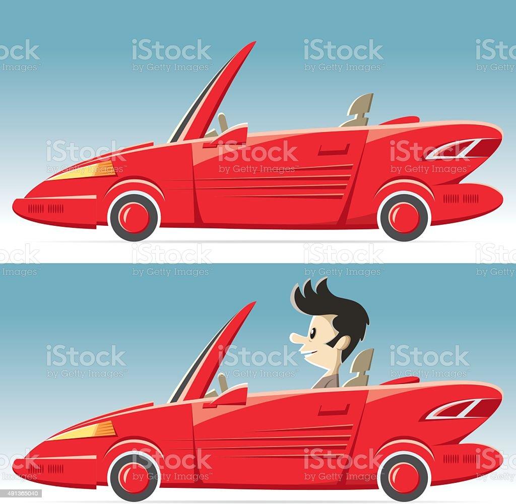 vector convertable car vector art illustration