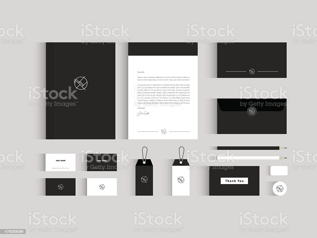Vector corporate identity mock up. Black and white vector art illustration
