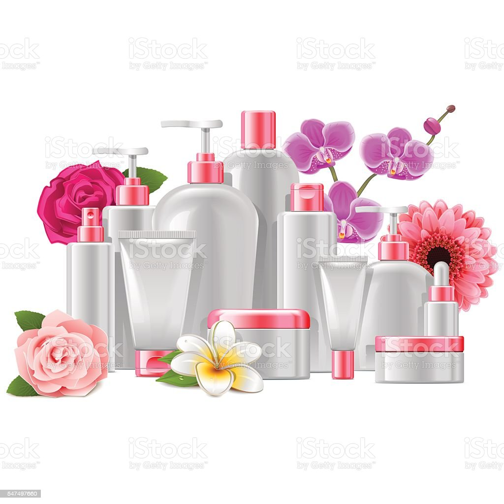 Vector Cosmetic Packaging with Flowers vector art illustration