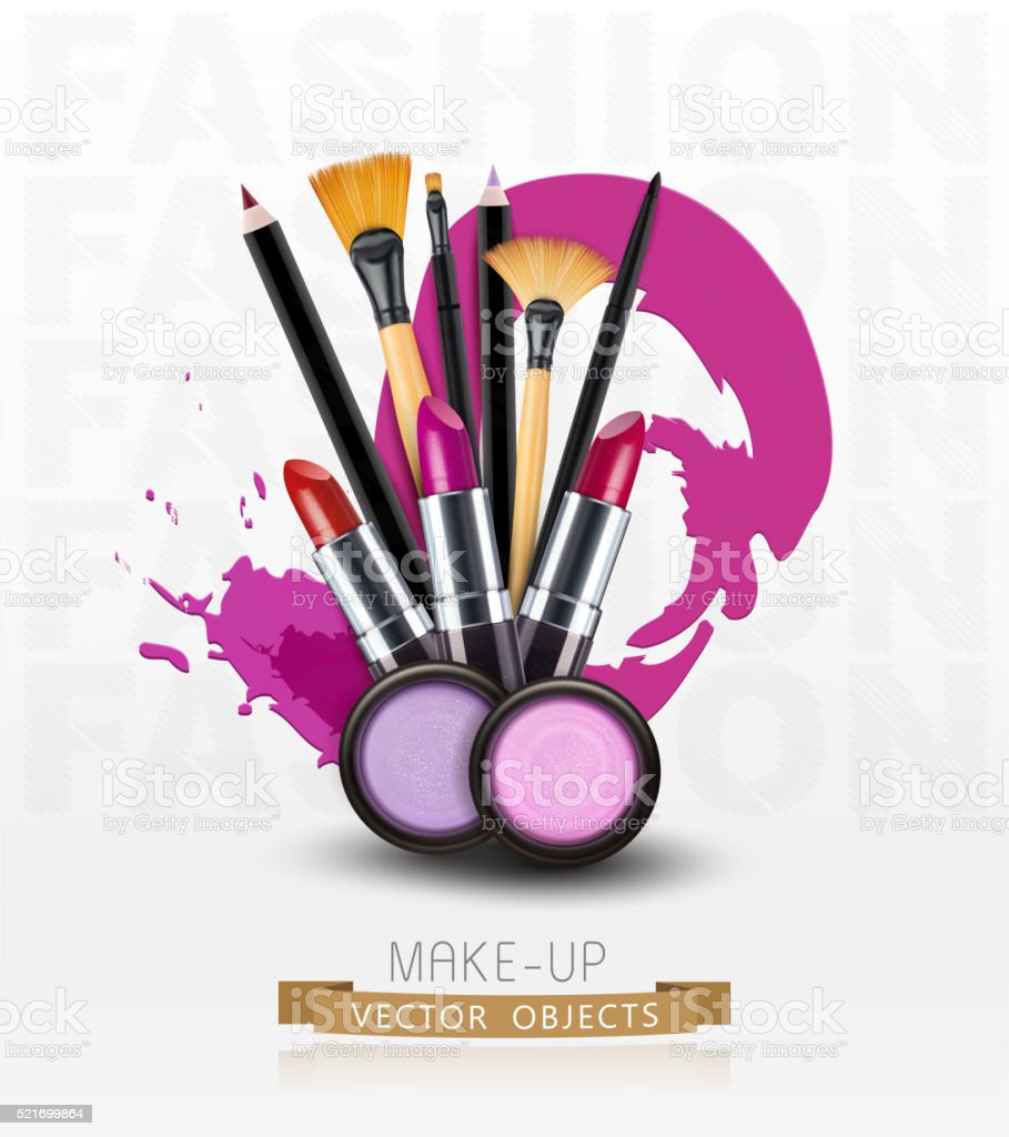 vector cosmetics and make-up objects. (Flyer template) vector art illustration