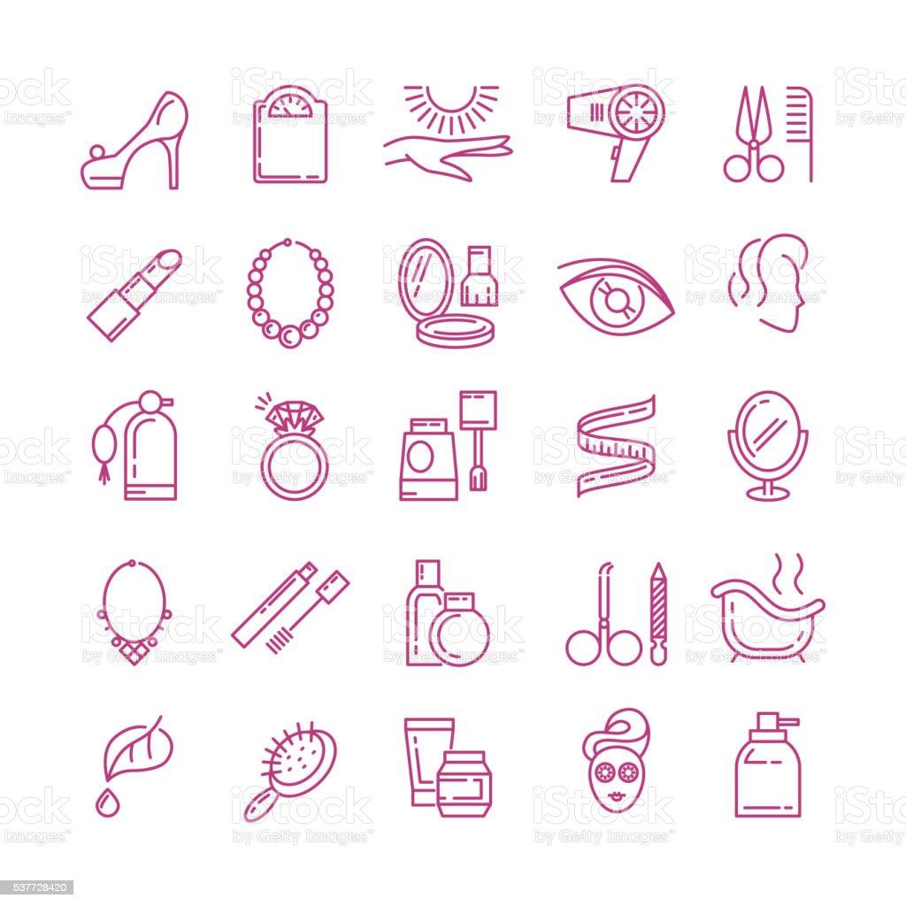 Vector cosmetics line icons vector art illustration