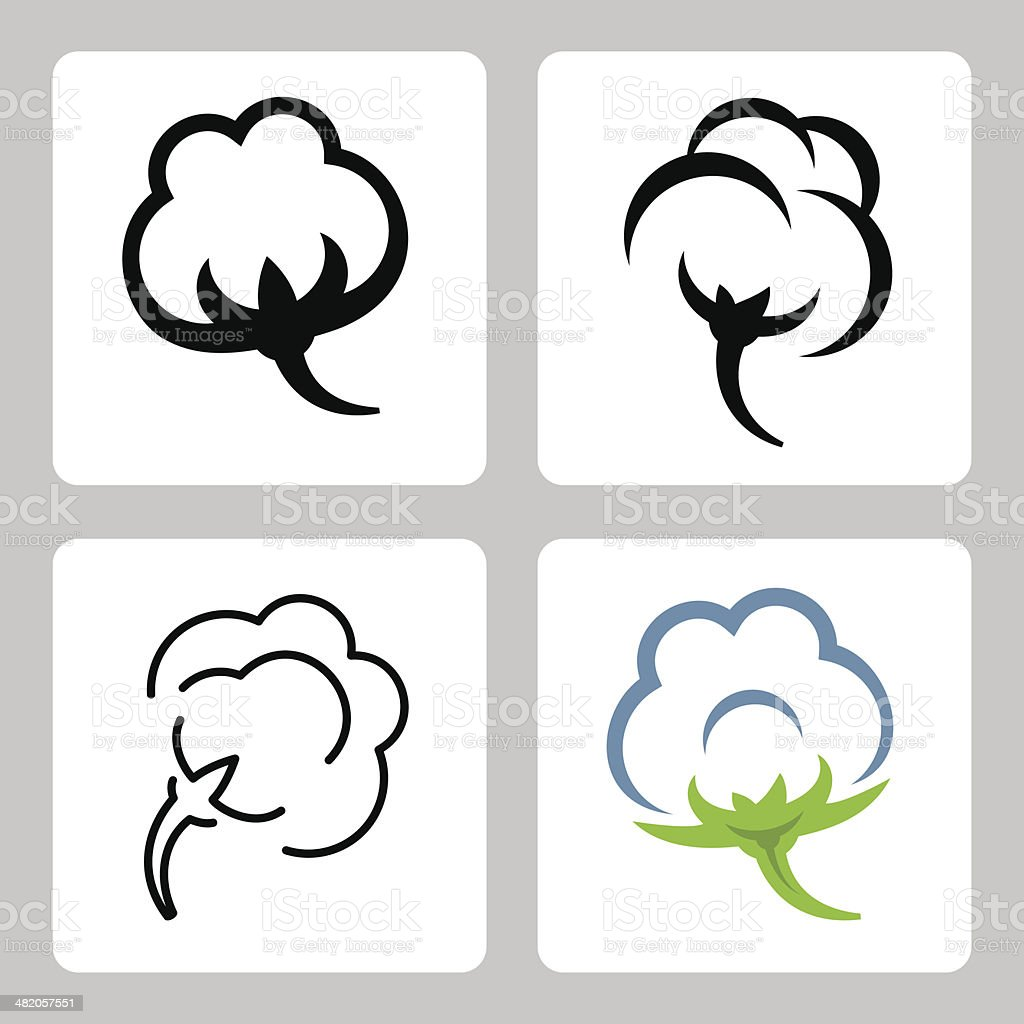 Vector cotton icons set vector art illustration