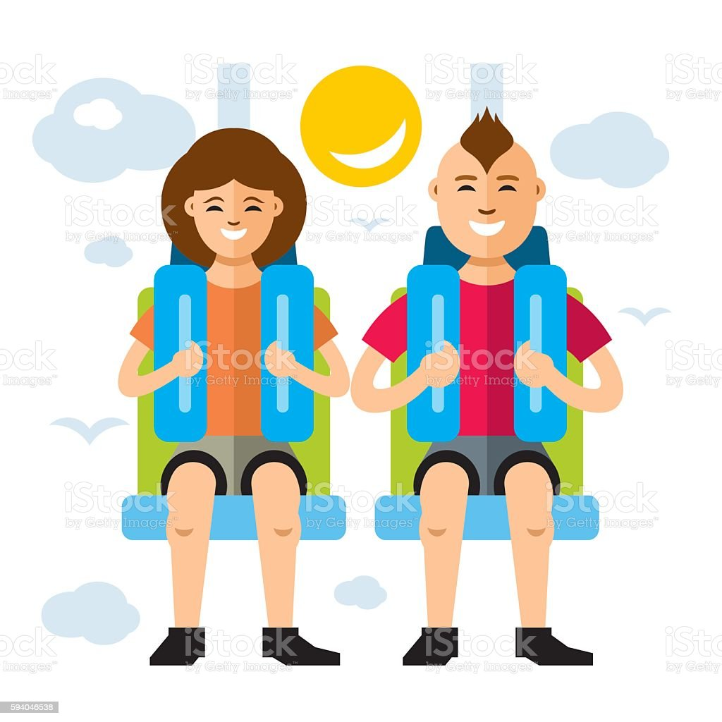 Vector Couple in Attraction Park. Flat style colorful Cartoon illustration. vector art illustration