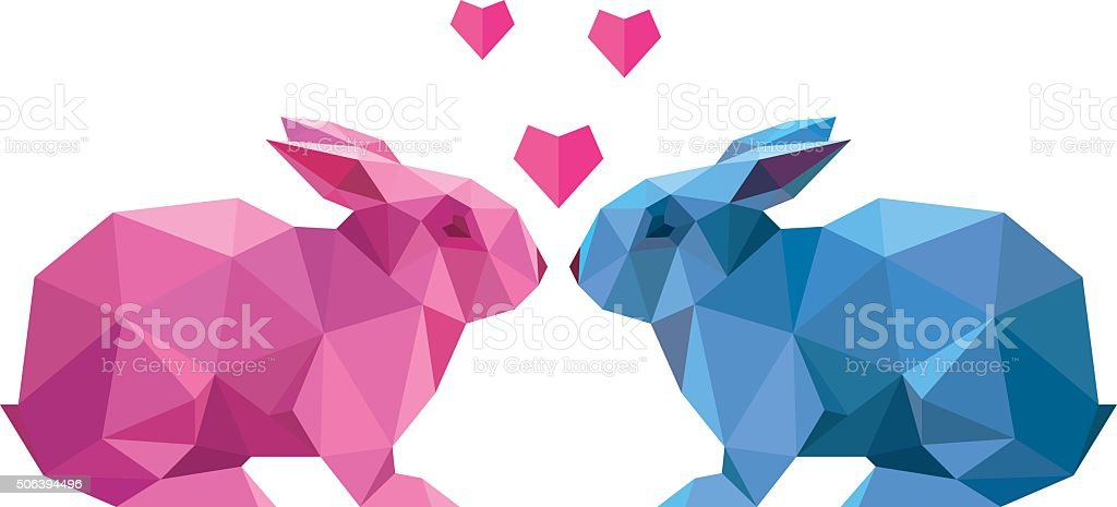 Vector couple of lovers rabbit style low poly vector art illustration