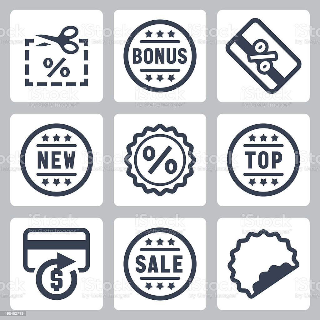 Vector coupon and discount related icons set vector art illustration