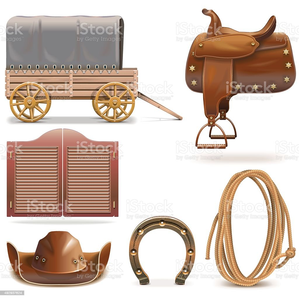 Vector Cowboy Icons Set 2 vector art illustration