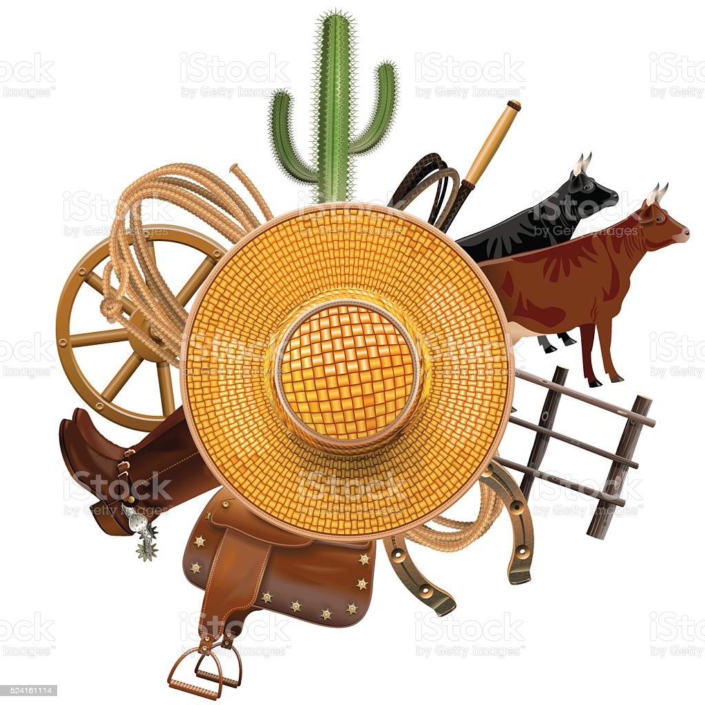 Vector Cowboy Ranch Concept with Straw Hat vector art illustration