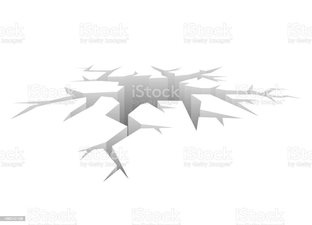 Vector Crack. Designed Hole. Crash Concept white Background vector art illustration