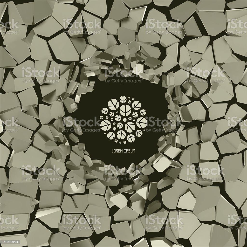 Vector cracked background. vector art illustration