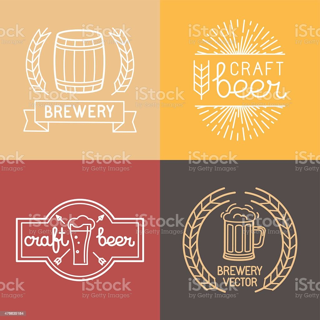 Vector craft beer and brewery logos vector art illustration