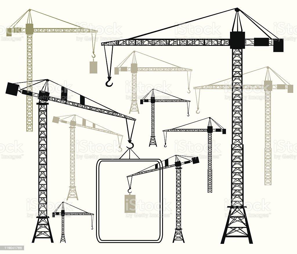Vector cranes silhouettes vector art illustration