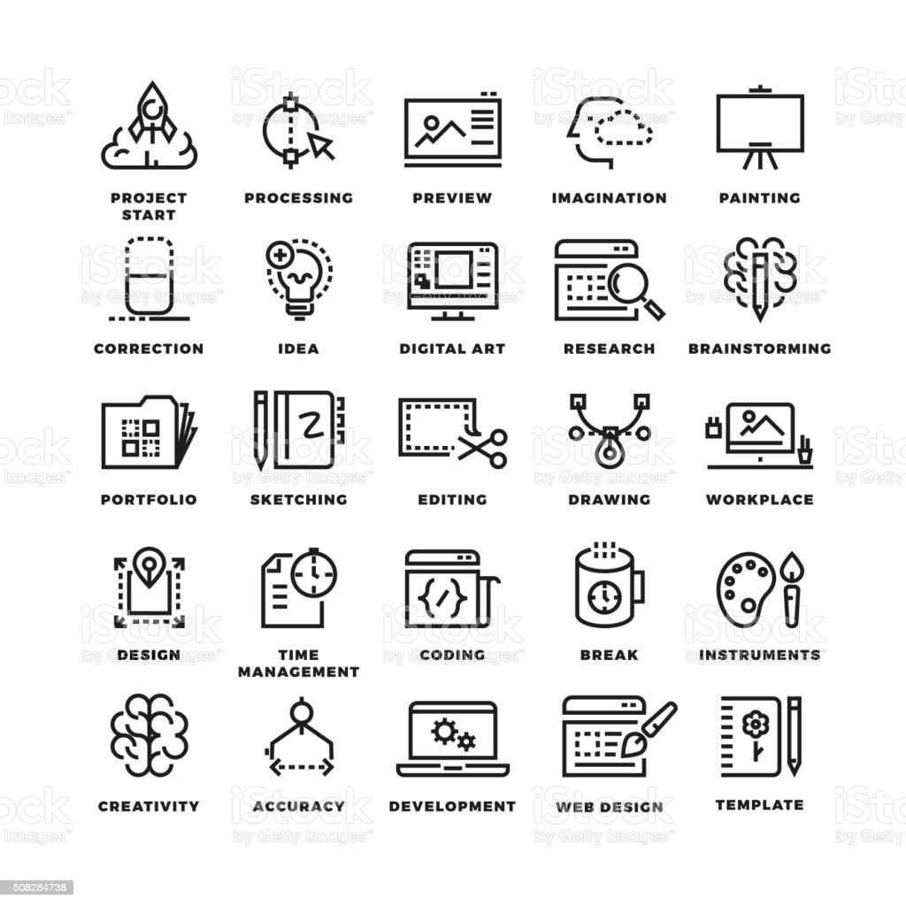 Vector creative process line icons vector art illustration
