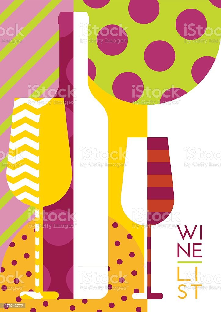 Vector creative wine bottle, glass silhouette with multicolor  pattern. vector art illustration
