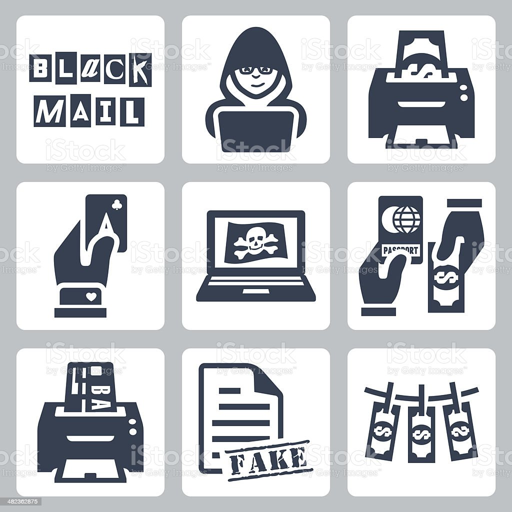 Vector criminal activity icons set vector art illustration