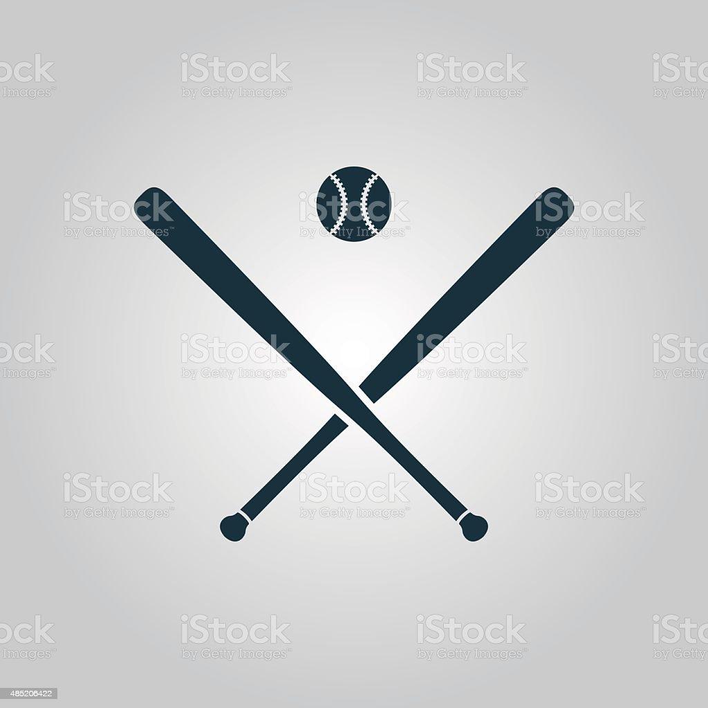 Vector crossed baseball bats and ball vector art illustration