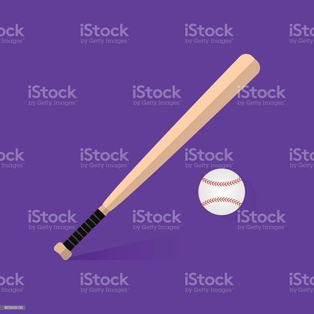 Vector crossed baseball bats and ball