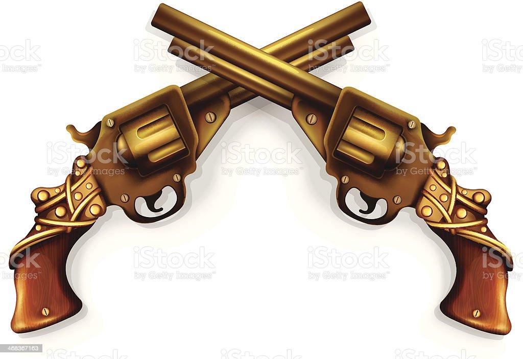 Vector Crossed Revolvers vector art illustration