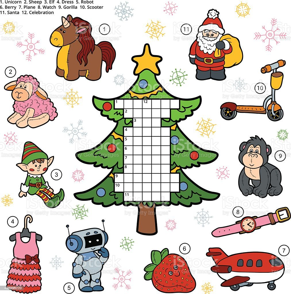 Vector crossword, education game about Christmas presents vector art illustration