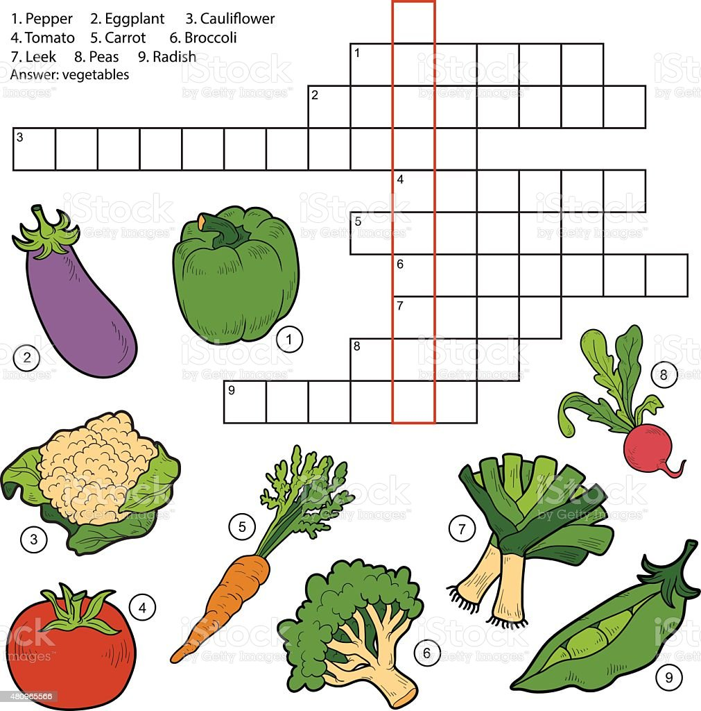 Game with shapes of different colors crossword - Vector Crossword Game For Children About Vegetables