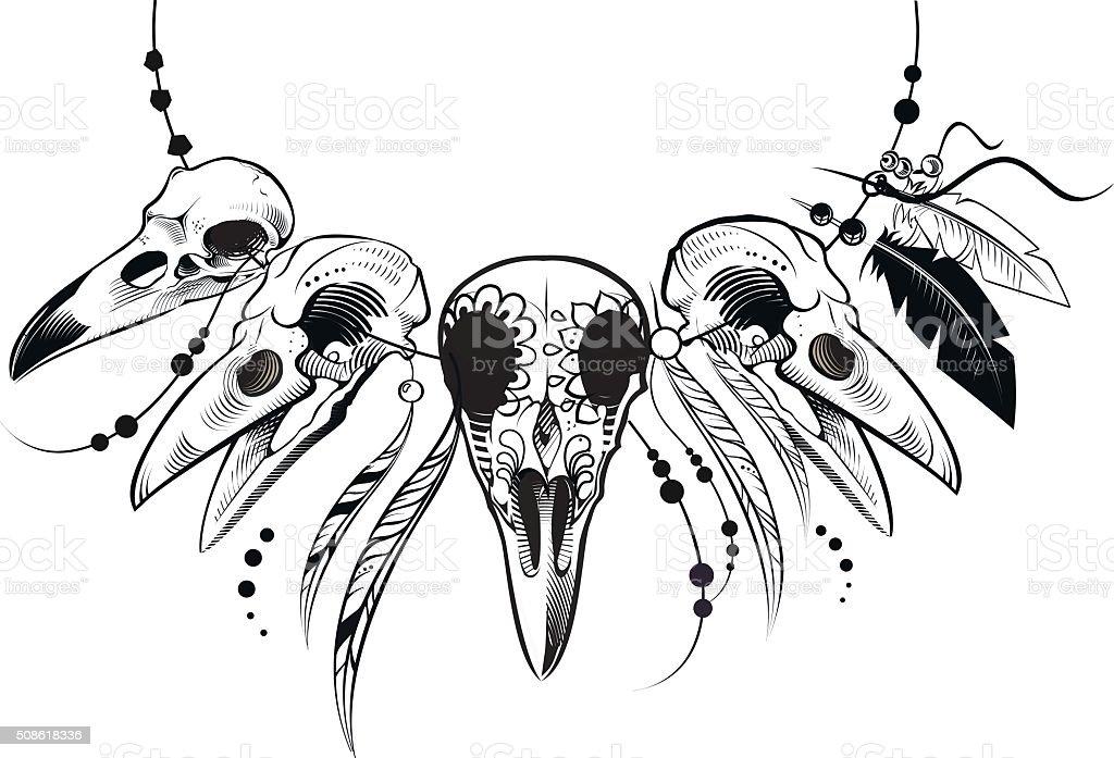 Vector crow skull vector art illustration