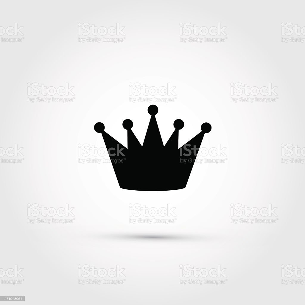 Vector crown, black silhouette on grey background vector art illustration