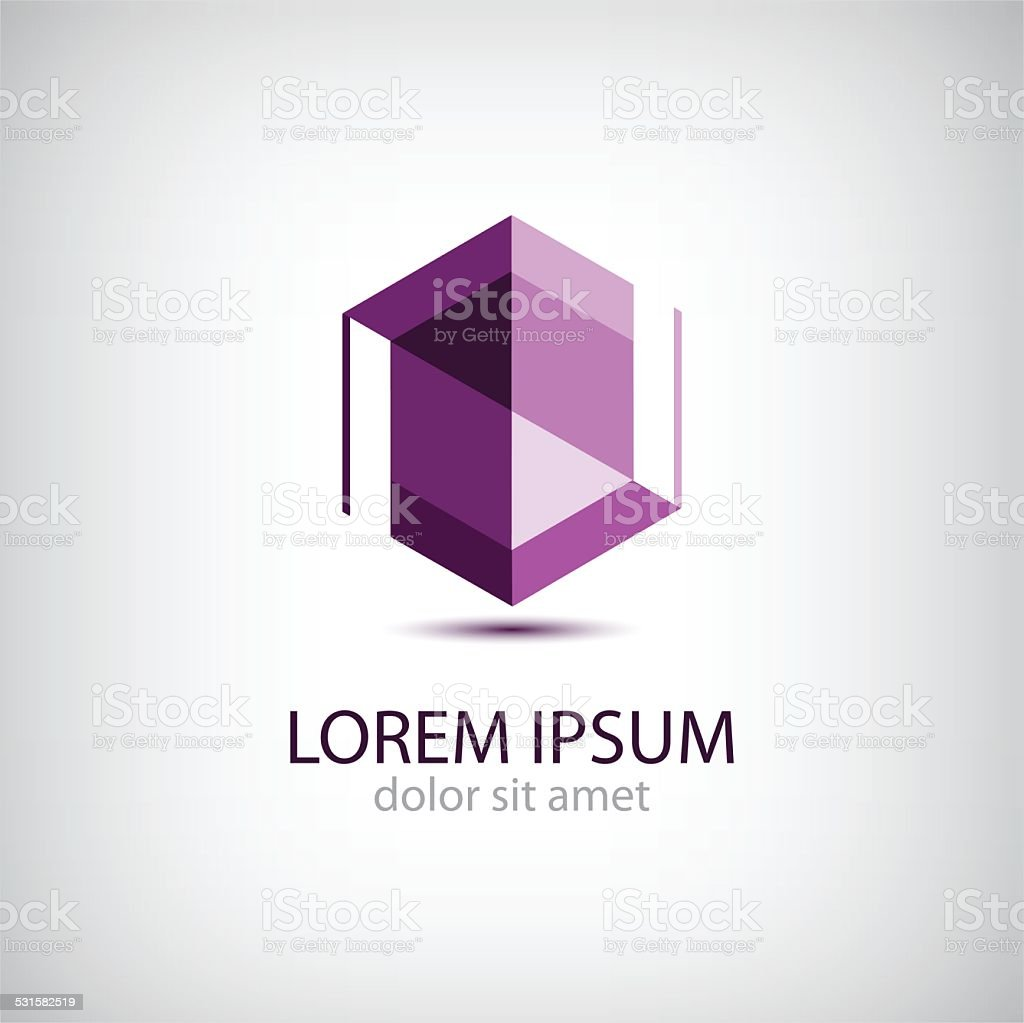 vector crystal abstract icon, logo vector art illustration