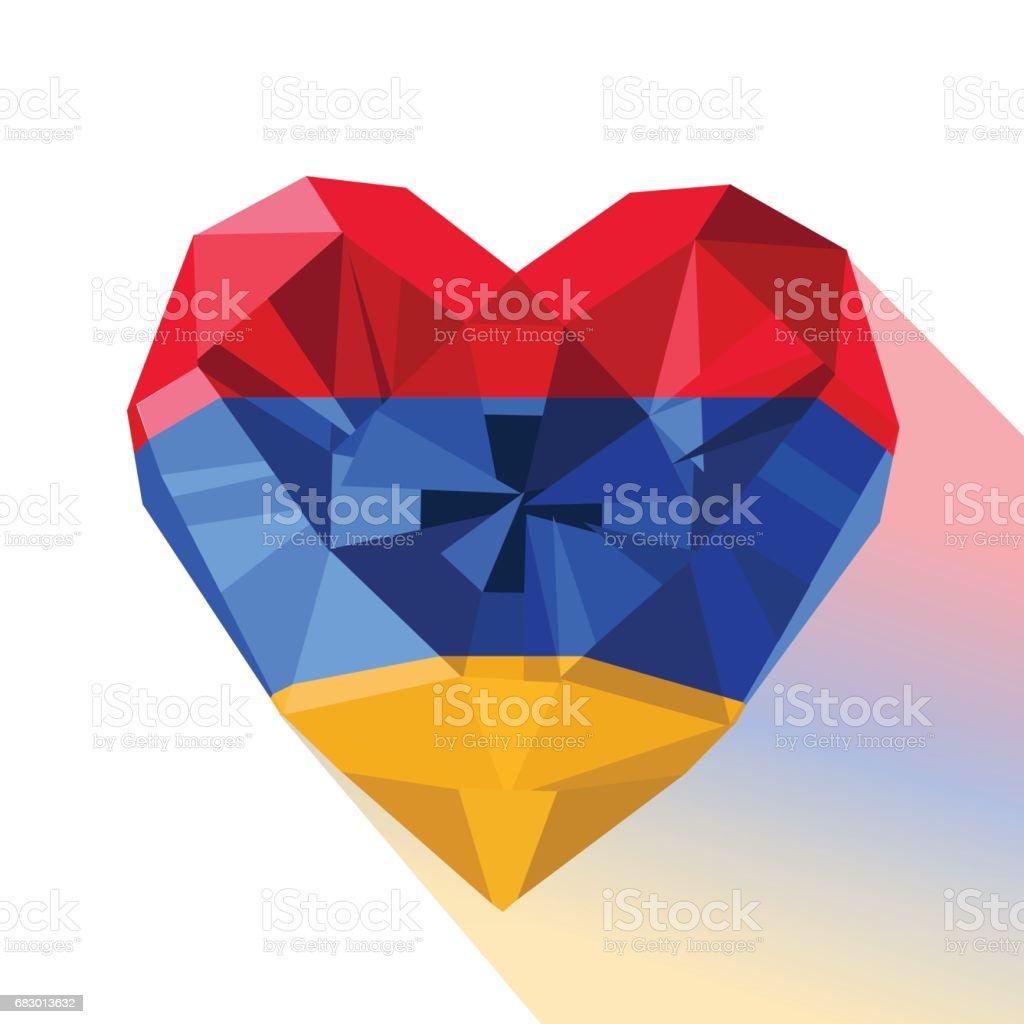 Vector crystal gem jewelry Armenian heart with the flag of the Armenia vector art illustration