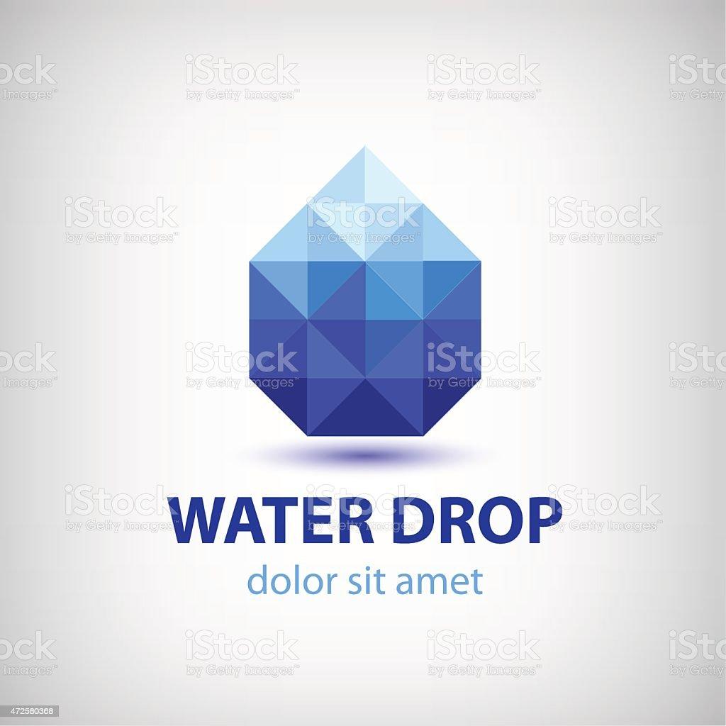 vector crystal modern water drop logo, icon vector art illustration