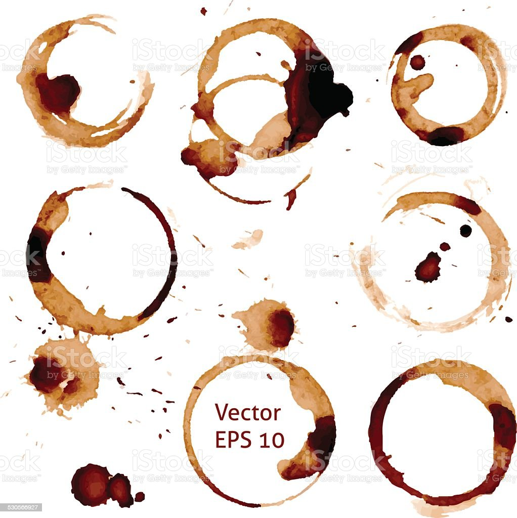 Vector cup of coffee stains on white background. vector art illustration
