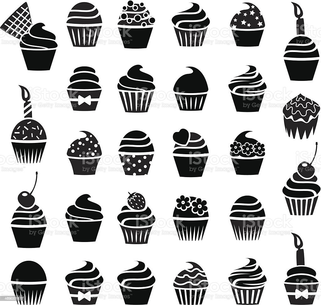 vector cupcakes icons vector art illustration