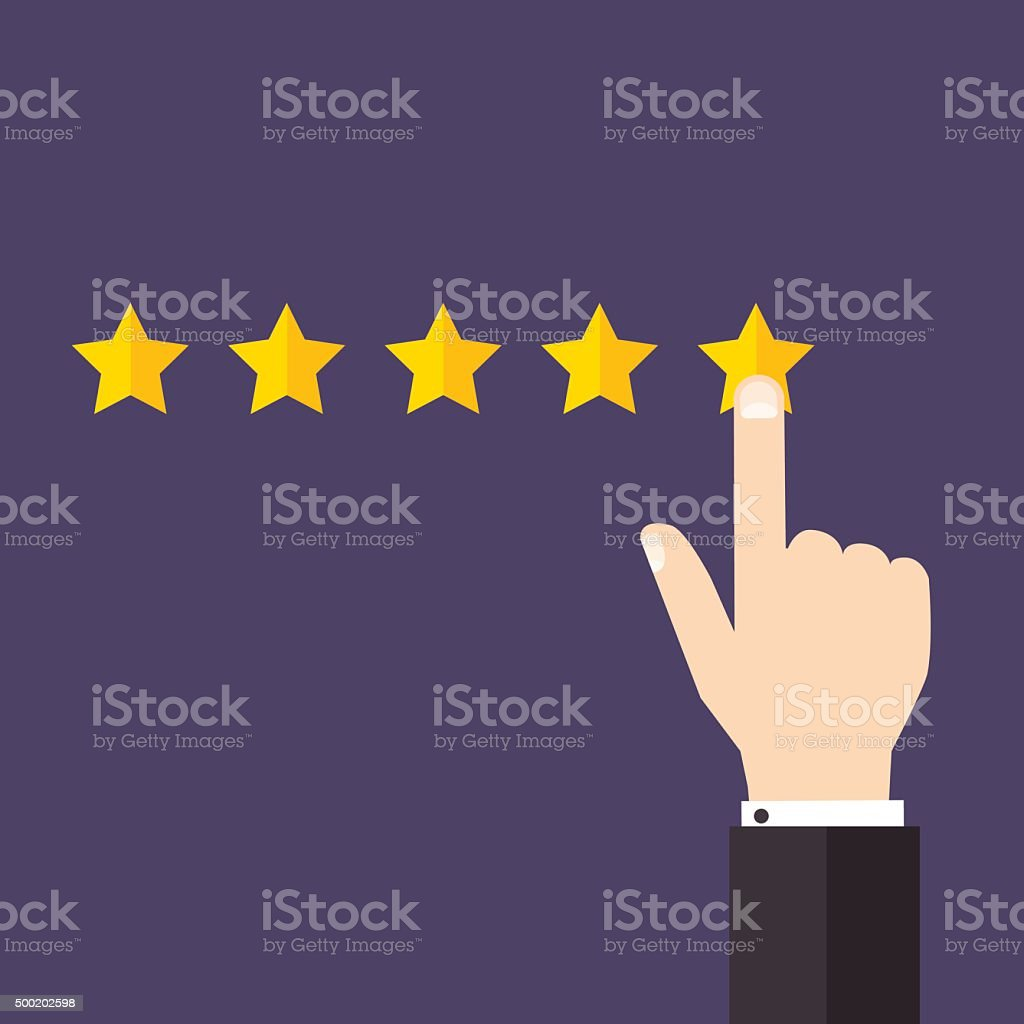 Vector customer review concepts in flat style. Hand choosing pos vector art illustration
