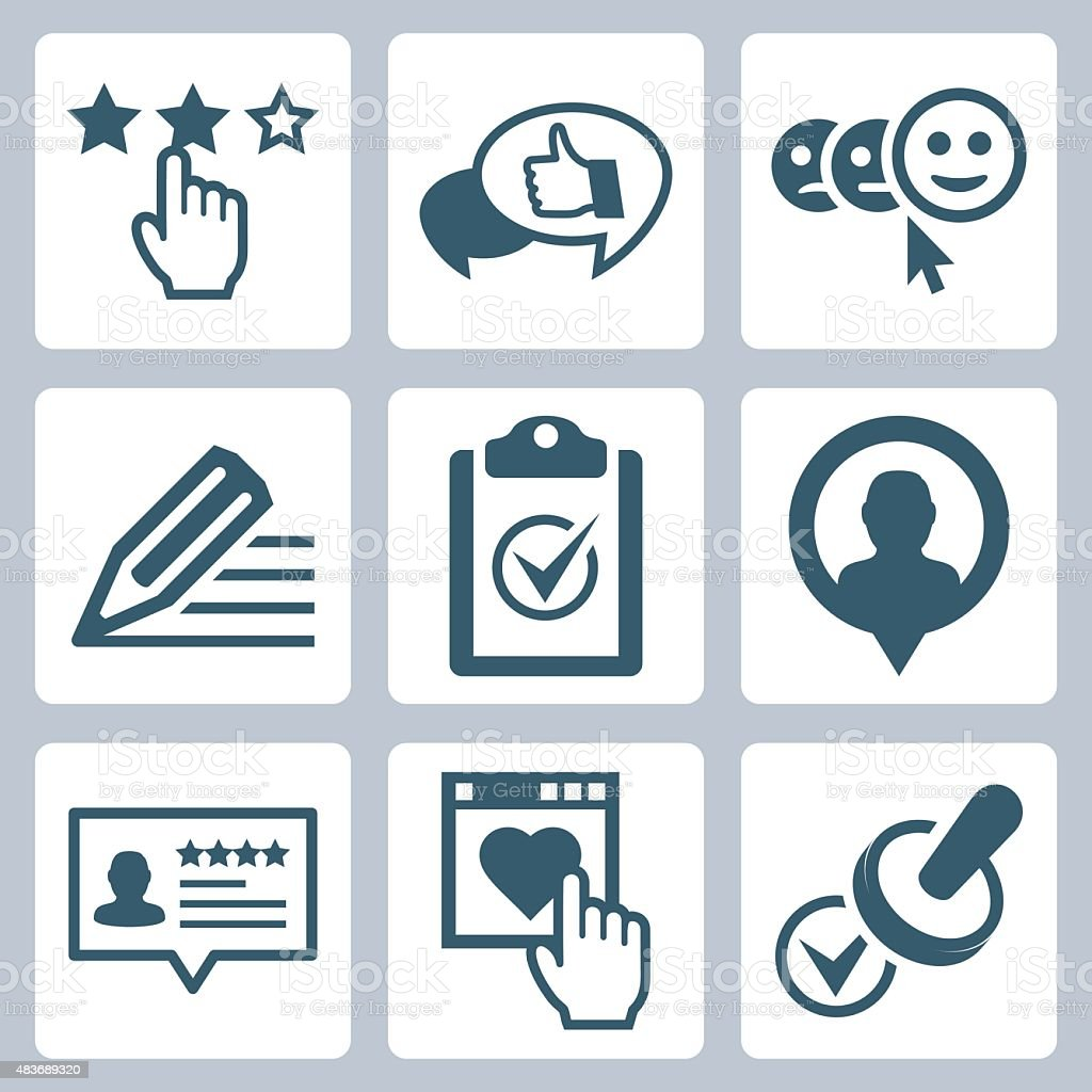 Vector customer service and testimonials related icon set vector art illustration