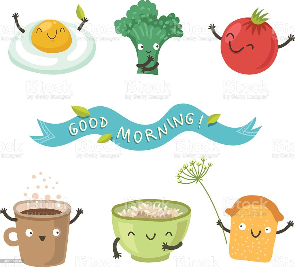 Vector cute breakfast: cartoon set of cute funny stuff for breakfast vector art illustration