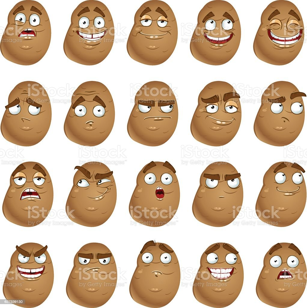 Vector cute cartoon potatoes smile with many expressions vector art illustration