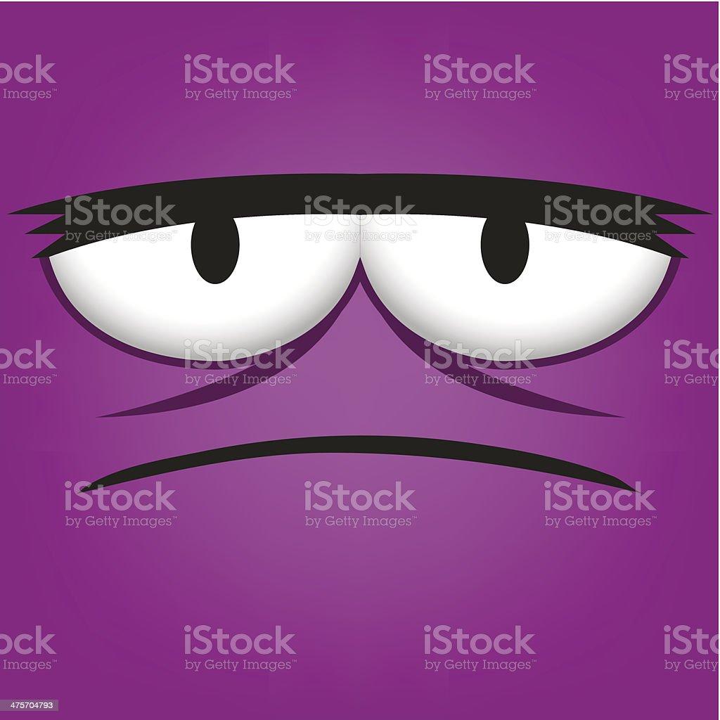 Vector Cute Cartoon Purple Grumpy Face vector art illustration