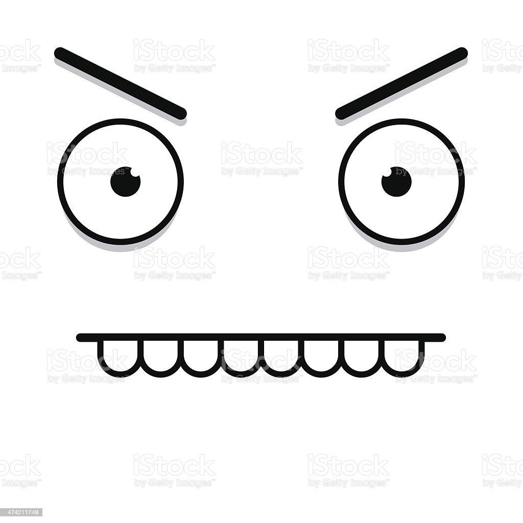 Vector Cute Cartoon White Angry Face vector art illustration