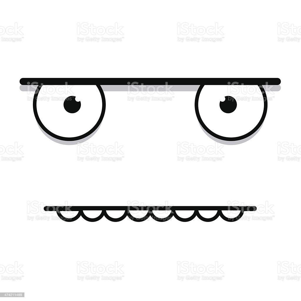 Vector Cute Cartoon White Grumpy Face vector art illustration